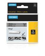 Dymo label Rhino gekleurd vinyl 19mm zwart op grijs 1805419