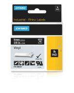 Dymo label Rhino gekleurd vinyl 9mm wit op zwart 1805437