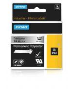 Dymo label Rhino permanent polyester 6mm zwart op metallic 1805441