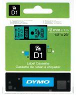 Dymo label D1, polyester, verwijderbaar, 12mm, zwart op groen S0720590