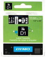 Dymo label D1, polyester, verwijderbaar, 12mm, wit op zwart S0720610