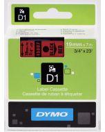 Dymo label D1, polyester, verwijderbaar, 19mm, zwart op rood S0720870