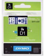 Dymo label D1, polyester verwijderbaar 19mm, blauw op wit 45804 / S0720840