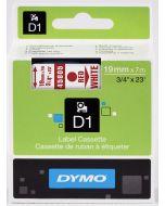 Dymo label D1, polyester, verwijderbaar, 19mm, rood op wit S0720850