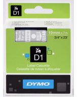 Dymo label D1 ,19mm, wit op transparant 45810 / S0720900