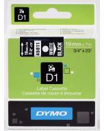 Dymo label D1 van polyester, verwijderbaar, 19mm, wit op zwart 45811 / S0720910