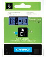 Dymo label D1, polyester, verwijderbaar, 24mm, zwart op blauw S0720960