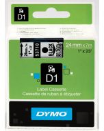 Dymo label D1, polyester, verwijderbaar, 24mm, zwart op transparant S0720920