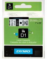 Dymo label D1, polyester, verwijderbaar, 24mm, zwart op wit S0720930
