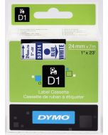 Dymo label D1, polyester, verwijderbaar, 24mm, blauw op wit S0720940
