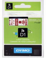 Dymo label D1 van polyester, verwijderbaar, 24mm, rood op wit 53715 / S0720950
