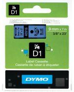 Dymo  label D1, polyester, verwijderbaar, 9mm, zwart op blauw S0720710