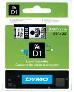 Dymo label D1, polyester, verwijderbaar, 9mm, zwart op transparant S0720670