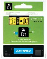 Dymo label D1, 9mm, zwart op geel 40918 / S0720730