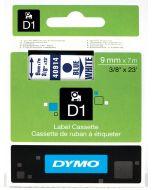 Dymo label D1 van polyester, verwijderbaar, 9mm, blauw op wit 40914 / S0720690