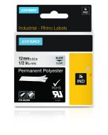 Dymo label Rhino permanent hechtende polyester 12mm zwart op transparant 622289
