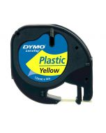 Dymo LetraTAG label plastic  12mm zwart op geel S0721620