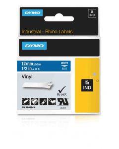 Dymo label Rhino gekleurd vinyl 12mm wit op blauw 1805243