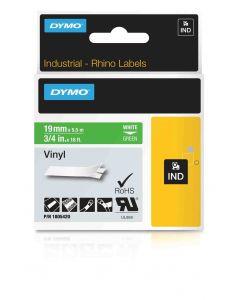 Dymo label Rhino gekleurd vinyl 19mm wit op groen 1805420