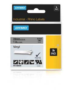 Dymo label Rhino gekleurd vinyl 24mm zwart op grijs 1805425