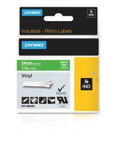 Dymo label Rhino gekleurd vinyl 24mm wit op groen 1805426