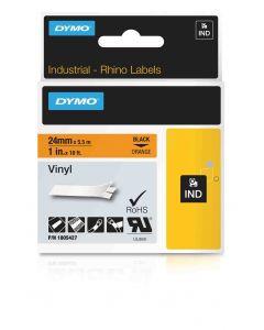 Dymo label Rhino gekleurd vinyl 24mm zwart op oranje 1805427