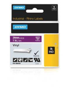 Dymo label Rhino gekleurde vinyl  24mm wit op paars 1805428