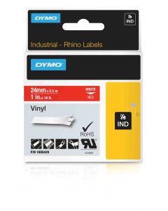 Dymo label Rhino gekleurd vinyl 24mm wit op rood 1805429