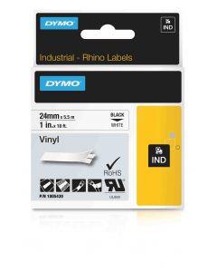 Dymo labels Rhino gekleurd vinyl 24mm zwart op wit 1805430
