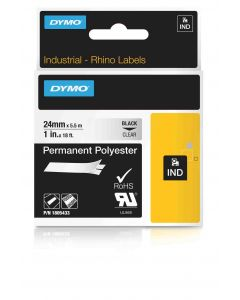 Dymo label Rhino permanent hechtende polyester 24mm zwart op transparant 1805433
