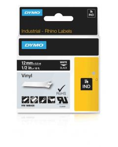 Dymo label Rhino gekleurd vinyl 12mm wit op zwart 1805435