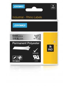 Dymo label Rhino permanent polyester 6mm zwart op metallic 1805441