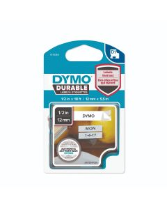 Dymo labels D1, Durable vinyl 12mmx 5.5m, zwart op wit 1978364 / SAP2040946