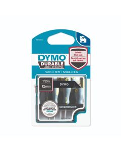 Dymo D1 tape Durable vinyl 12mm wit op zwart 1978365