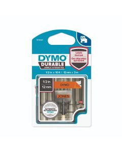Dymo D1 tape Durable vinyl zwart op oranje 12mm X 3m