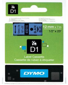 Dymo label D1, polyester, verwijderbaar, 12mm, zwart op blauw S0720560