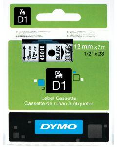 Dymo D1-tape, polyester, verwijderbaar, 12mm, zwart op transparant S0720500