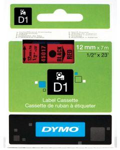 Dymo label D1, polyester, verwijderbaar, 12mm, zwart op rood S0720570