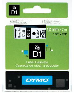 Dymo label D1, polyester, verwijderbaar, 12mm, zwart op wit S0720530