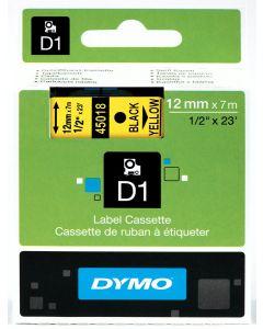 Dymo label D1, polyester, verwijderbaar, 12mm, zwart op geel S0720580