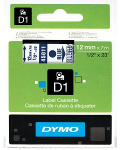 Dymo labels D1, 12mm, blauw op transparant 45011 / S0720510