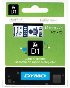 Dymo label D1, polyester, verwijderbaar, 12mm, blauw op wit S0720540
