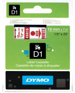Dymo label D1, polyester, verwijderbaar, 12mm, rood op wit S0720550
