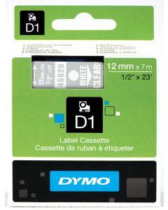 Dymo label D1, polyester, verwijderbaar, 12mm, wit op transparant S0720600