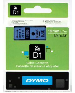 Dymo D1-tape, polyester, verwijderbaar, 19mm, zwart op blauw S0720860