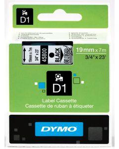 Dymo Label D1, polyester, verwijderbaar, 19mm, zwart op transparant S0720820