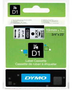 Dymo label D1, 19mm, zwart op wit 45803 / S0720830