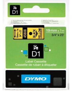 Dymo labels D1, polyester, verwijderbaar, 19mm, zwart op geel S0720880