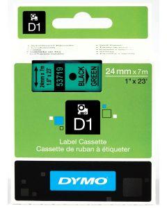 Dymo label D1, polyester, verwijderbaar, 24mm, zwart op groen S0720990