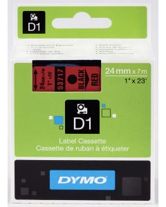 Dymo label D1, polyester, verwijderbaar, 24mm, zwart op rood S0720970